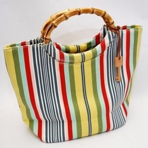 Fossil Vintage Bamboo Wood Handle Stripe Tote Bag